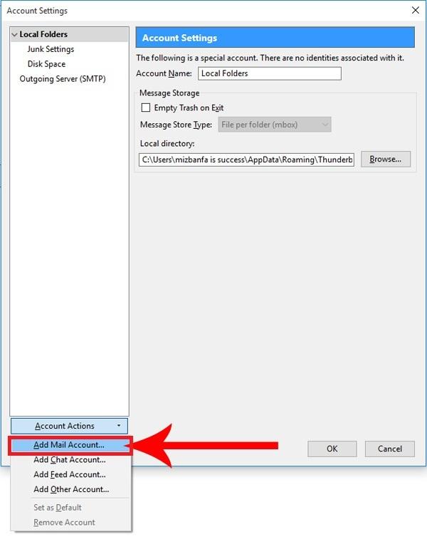 اتصال ایمیل هاست سی پنل به Mozilla Thunderbird