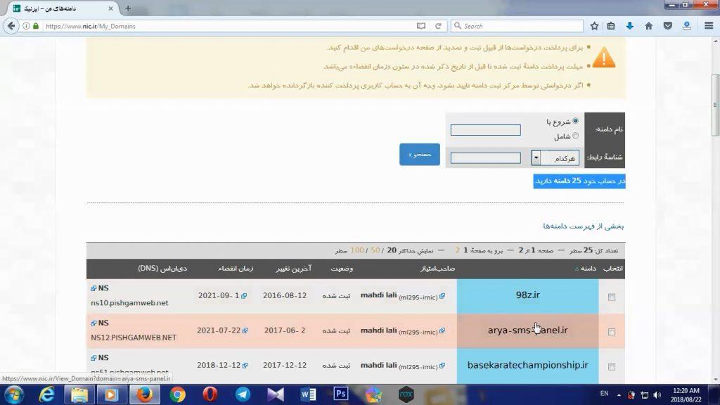 DNS از طریق سایت ایرنیک