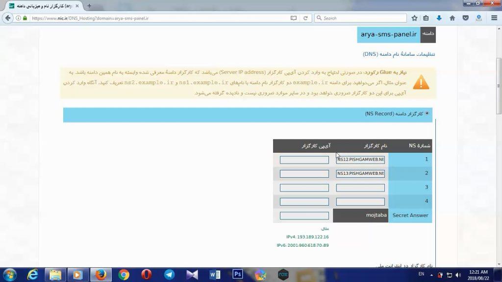 آموزش تنظیم DNS از طریق سایت ایرنیک