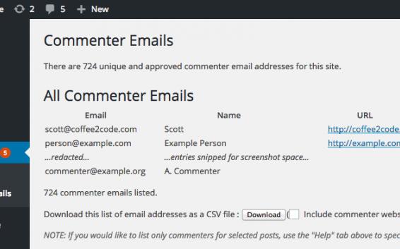 دریافت لیست تمام ایمیل کامنت ها در وردپرس