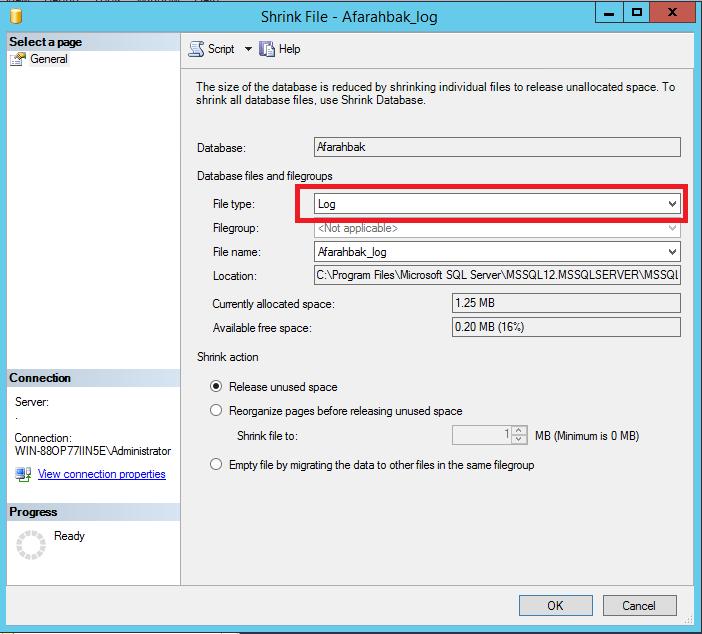 کاهش فضا دیتابیس در Sql Server