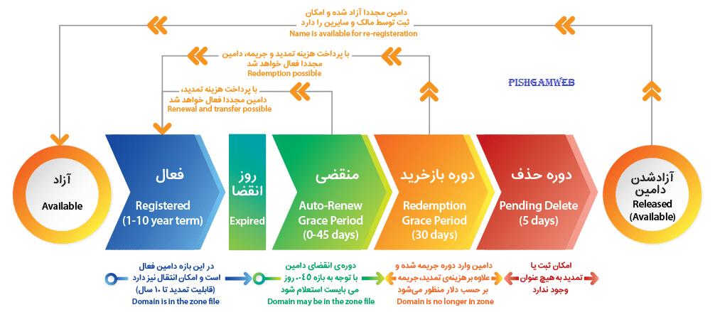چرخه حیات دامین های بین المللی
